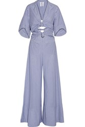 Rosie Assoulin Knotty By Nature Cutout Pinstriped Cotton Poplin Jumpsuit Blue