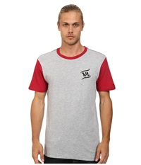 Rvca Script Va Baseball Tee Athletic Heather Red Men's T Shirt Gray