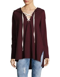 Design Lab Lord And Taylor Lace Up Hoodie Burgundy