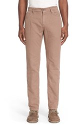 Eidos Napoli Cotton And Linen Slim Straight Leg Pants Brown