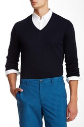 Ben Sherman Knit Elbow V Neck Pullover Blue