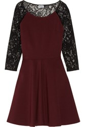 Alice By Temperley Mini Solitaire Ponte And Lace Dress Burgundy