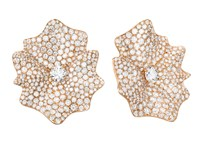 Sabbadini Flower Shaped Diamond Earrings Rose Gold