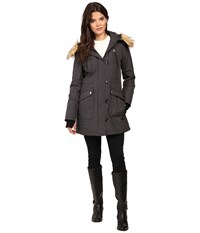 Jessica Simpson Snorkle Anorak W Faux Fur Steel Women's Coat Silver