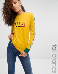 Fila Tall Motif Long Sleeve T Shirt Yellow