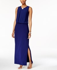Msk Embellished Blouson Gown Midnight Silver