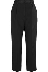 Mcq By Alexander Mcqueen Cropped Satin Paneled Wool Crepe Straight Leg Pants Navy