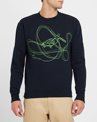 Carven Navy And Fluoro Green Embroidered Round Neck Sweatshirt Blue