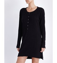 Skin Ribbed Pima Cotton Jersey Tunic Black