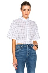 Msgm Window Pane Print Shirt In White Geometric Print White Geometric Print