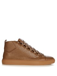 Balenciaga Arena High Top Leather Trainers Khaki