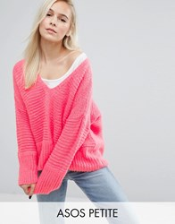 Asos Petite Chunky Sweater In Fluffy Yarn With V Neck Pink
