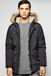 Boohoo Pocket Faux Fur Hooded Parka Black