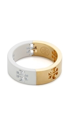 Tory Burch Dipped Pierced T Ring New Ivory Shiny Gold