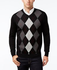 Club Room Men's V Neck Argyle Sweater Only At Macy's Deep Black