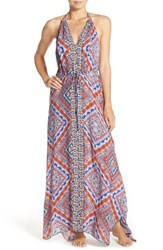 Red Carter Women's Halter Cover Up Maxi Dress Blossom Blue