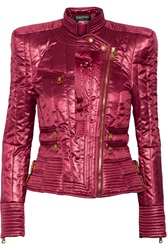 Balmain Quilted Satin Jacket Red