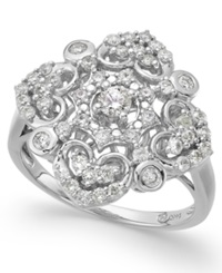 Wrapped In Love Diamond Vintage Ring In 14K White Gold 3 4 Ct. T.W.