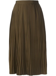 Jean Louis Scherrer Vintage Pleated Skirt Green