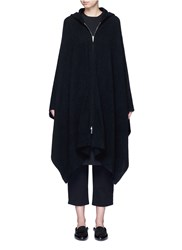 The Row 'Asham' Hooded Cashmere Silk Cape Black