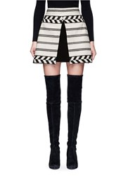Alice Olivia 'Dayso' Front Slit Tribal Stripe Jacquard Skirt Multi Colour