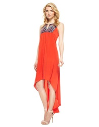 Muse Dip Dye Colorblock High Low Maxi Dress Sunset