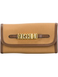 Moschino Vintage Logo Plaque Keyring Nude And Neutrals