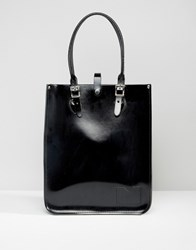 Leather Satchel Company The Tote Bag Patent Pitch Black