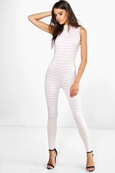 Boohoo High Neck Burn Out Stipe Jumpsuit Nude