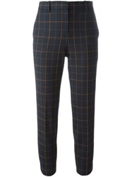 Theory Cropped Checked Trousers Blue