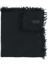 Attachment Fringed Scarf Black