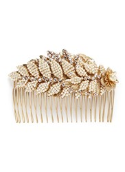 Miriam Haskell Baroque Pearl Layered Leaf Hair Comb Metallic