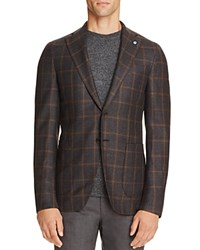 Eidos Windowpane Plaid Wool Slim Fit Sport Coat Charcoal Grey