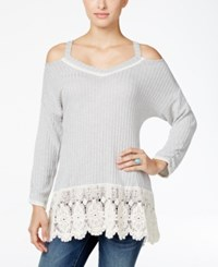 Styleandco. Style Co. Crochet Trim Cold Shoulder Top Only At Macy's Heather Grey