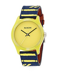 Nixon Mod Acetate And Striped Canvas Watch Yellow