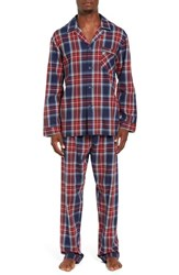 Majestic International Men's Holiday Essential Flannel Pajama Set Red Plaid