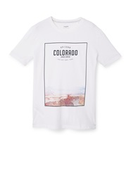 Mango Colorado Printed Cotton Blend T Shirt Natural
