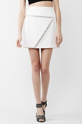 Thierry Mugler Back Zipper Silver Detail Mini Skirt Off White