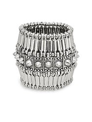 Saks Fifth Avenue Spiked Cuff Bracelet Antique Silver