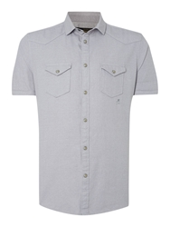 Label Lab Mexico Washed Denim Effect Short Sleeve Shirt Grey
