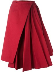 Off White Pleated Asymmetric Skirt Red