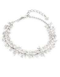 Oscar De La Renta Faux Pearl And Crystal Leaf Necklace Silver