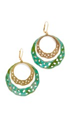 We Dream In Colour Sage Earrings Gold Turquoise