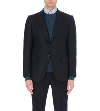 Tom Ford Single Breasted Dogstooth Print Wool Jacket Blue
