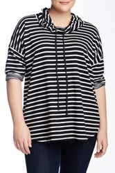 Cable And Gauge Striped French Terry Knit Pullover Plus Size Black