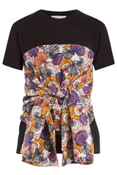 Emilio Pucci Cotton T Shirt With Printed And Draped Detail Black
