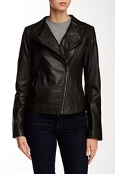 7 For All Mankind Collarless Leather Moto Jacket Black