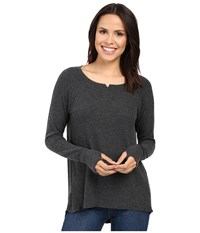 Michael Stars Madison Brushed Jersey Long Sleeve W Thumbholes Charcoal Women's Clothing Gray