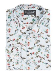 New And Lingwood Men's Botanica Print Shirt Cream