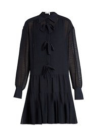 See By Chloe Bow Front Crinkled Georgette Dress Navy